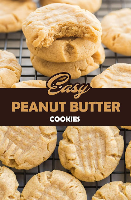EASY PEANUT BUTTER COOKIES #cookies #recipe #easydessert #dessert #peanut
