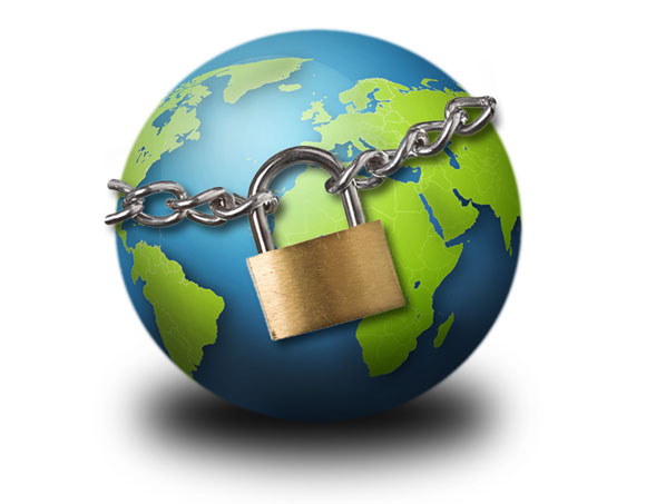 Concept image of the earth with a padlock on it