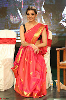 Kajal Aggarwal in Red Saree Sleeveless Black Blouse Choli at Santosham awards 2017 curtain raiser press meet 02.08.2017 089.JPG