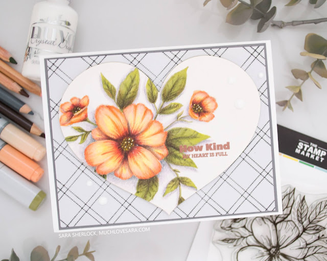 This pretty card was created with stamps from The Stamp Market, as part of the November Crafty Friends Blog Hop.  Coloring on the image was done with Copic Markers, and colored pencils.  A full list of the colors used, along with all of the supplies, can be found on the blog post.