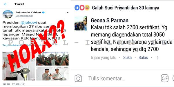 SIAPA BOHONG? Setkab: Jokowi Bagikan 27rb Sertifikat di Lombok, Wartawan: HOAX! Cuma 2000an!