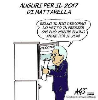 Mattarella, discorso di fine anno, emergenze, vignetta, satira