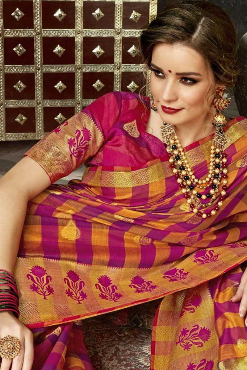0ca03fb9eae7c8 A Set Of Silk Weaved Printed Festive Wear Stylish Saree With Blouse Piece  Bunch From LKFABKART.