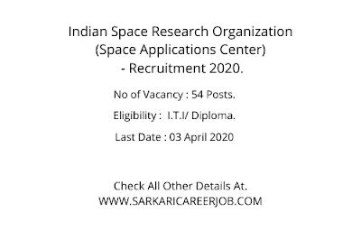 ISRO Job Vacancy 2020 |  54 Posts ISRO Latest Recruitment 2020.