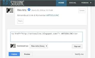 Membuat link di komentar Blogger Artsoulinc