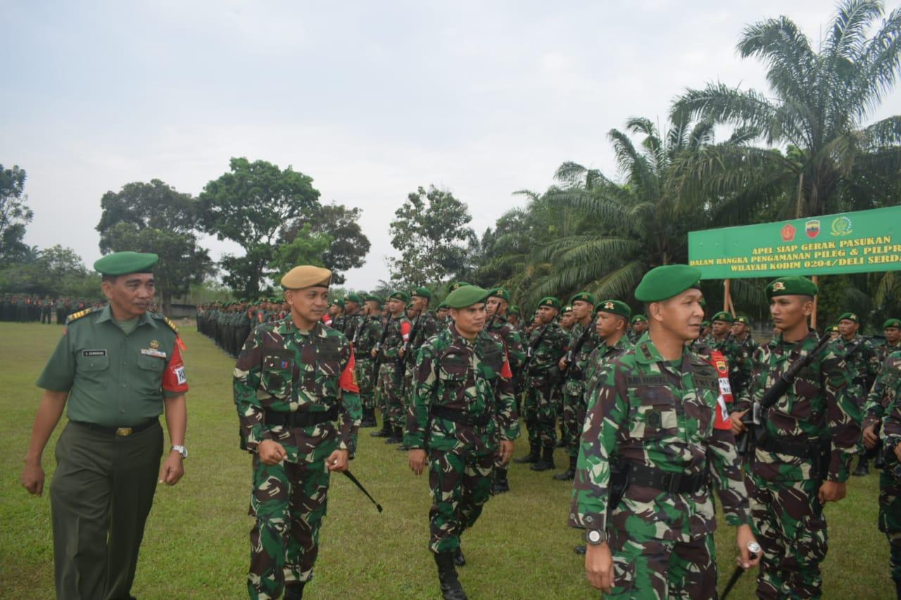 Kodim 0204 DS Gelar Apel Gerak Pasukan Pengamanan Pileg dan Pilpres 2019