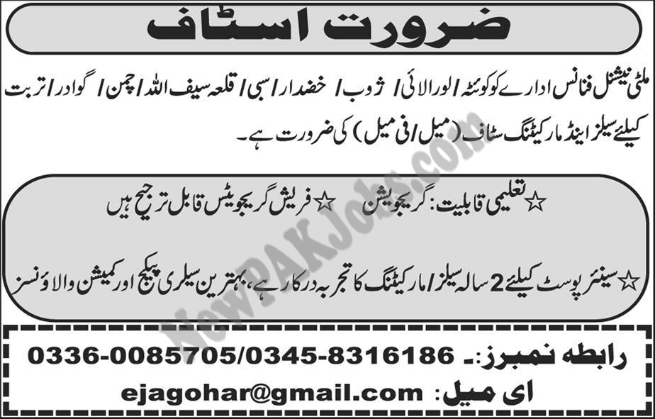 Jobs in Multinational Finance Company for Male & Female 07 March 2018