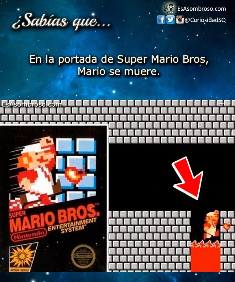 En la portada de Super Mario Bros, Mario se muere.