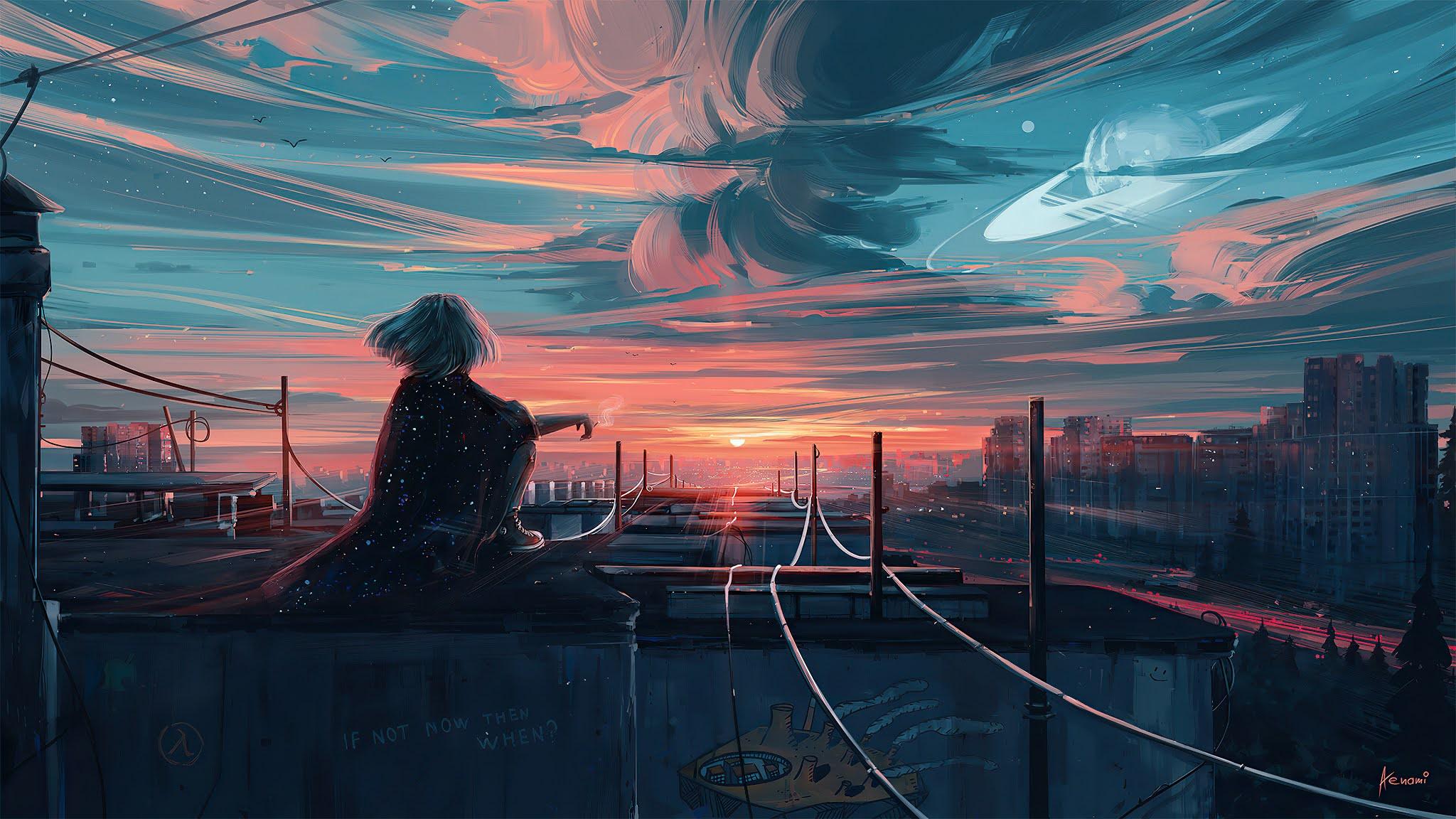Anime Girl City Sunset Wallpaper