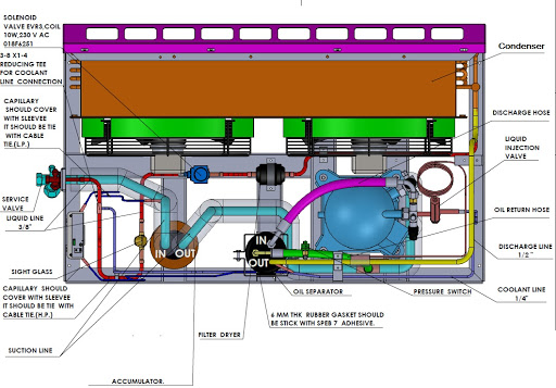 condensing unit top view detail drawing