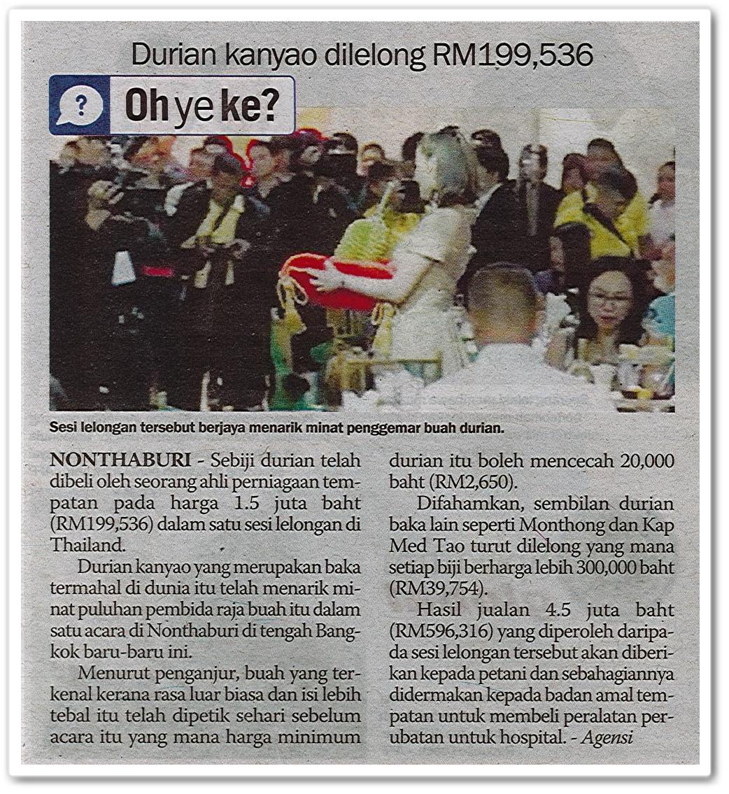 Durian kanyao dilelong RM199,536 - Keratan akhbar Sinar Harian 8 Jun 2019