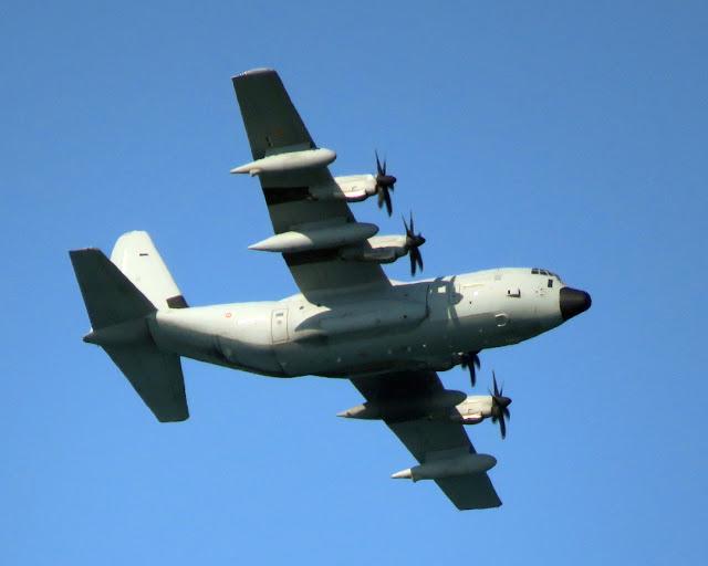 Lockheed Martin C-130J Super Hercules, over the port of Livorno