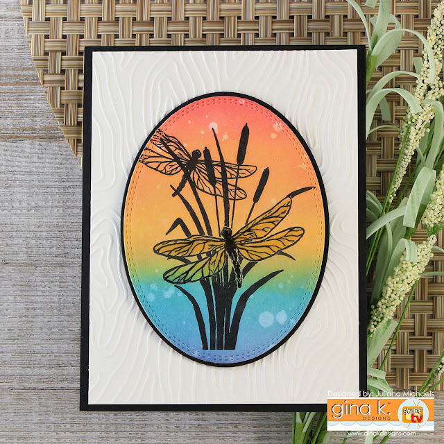 Dragonfly Cattail Card by Juliana Michaels featuring Wetlands 2 Stamp Set by Gina K Designs
