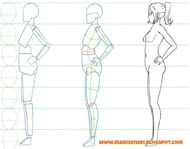 Dessiner un corps manga: un corps féminin vu de profil