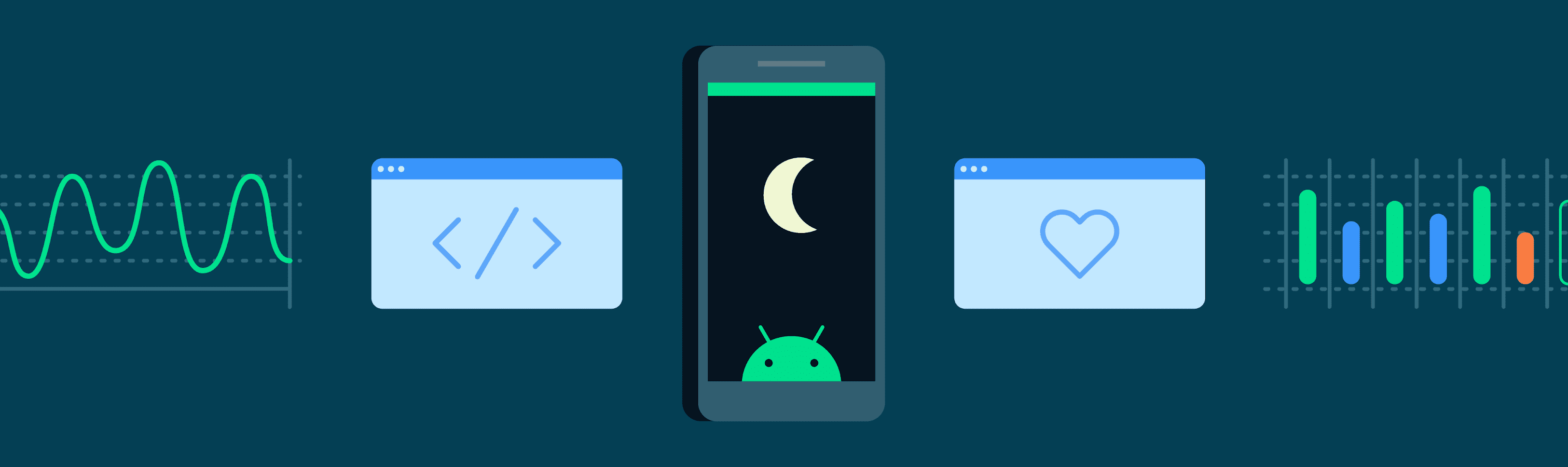 Illustration of phone with moon and android logo on the screen