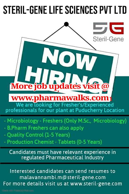 Urgent Job openings for Freshers and Experienced candidates @ Sterile - Genie Life Sciences