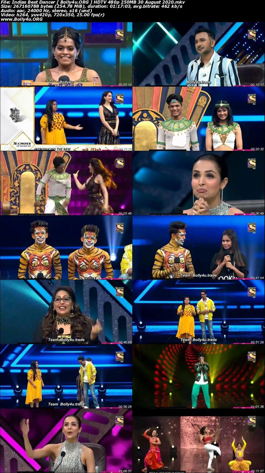 Indias Best Dancer HDTV 480p 250MB 30 August 2020 Download