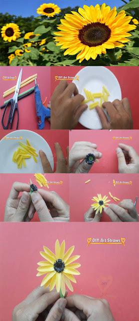 cara membuat bunga dari sedotan beserta gambarnya