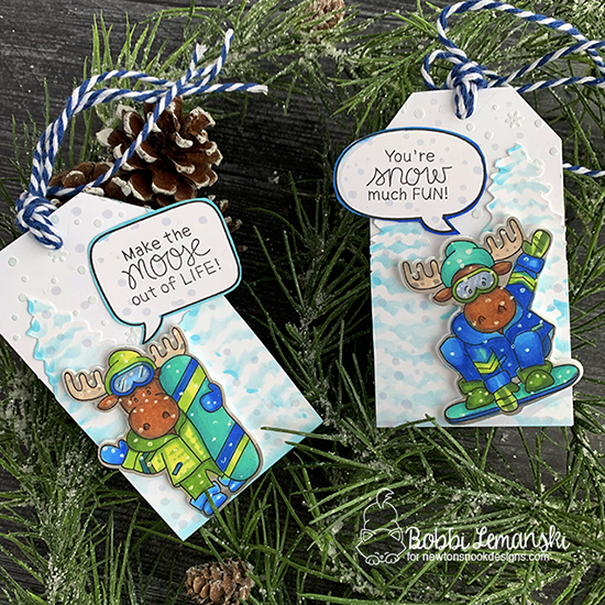 Make the moose out of life by Bobbi features Petite Snow, Evergreen, Speech Bubbles, and Moose Mountains by Newton's Nook Designs; #newtonsnook