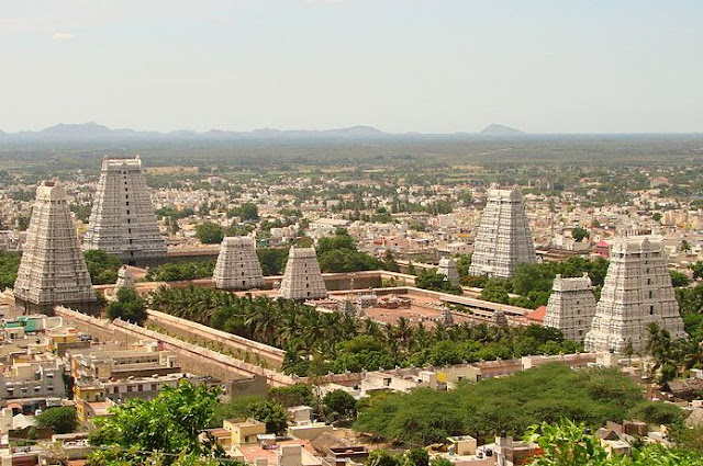 The Arunachaleshwara Temple complex, Tamil Nadu, India, built in the 9th century. There are four gopurams in the cardinal directions, of which the eastern tower (Rajagopuram) 11 stories and 66m is the highest.