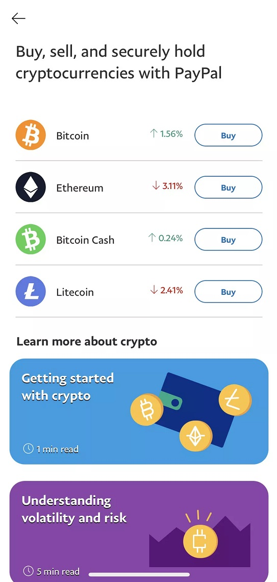 Buy, Sell, Keep Cryptocurrency Feature Now Available to all US PayPal Account