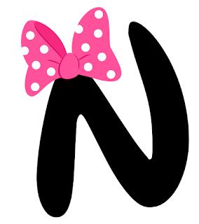 Coqueto Alfabeto Negro con Moño o Lazo de Minnie.