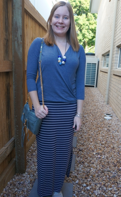 monochrome wrap top with navy striped maxi skirt outfit for autumn school run | away from blue