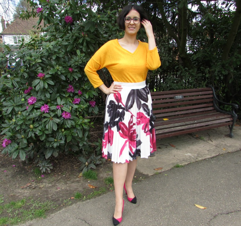yellow top, floral skirt