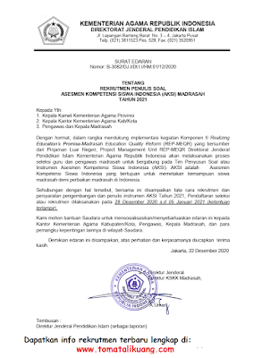 rekrutmen penulis soal asesmen kompetensi siswa indonesia aksi madrasah mi mts ma kemenag tahun 2021 tomatalikuang.com