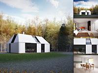 Modern bir prefabrik evin içten ve dıştan görünümü
