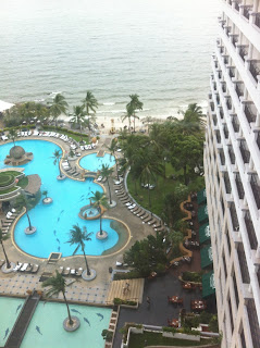 Blick vom 17. Stock -obersten- Stock des Hotel Hilton in Hua Hin