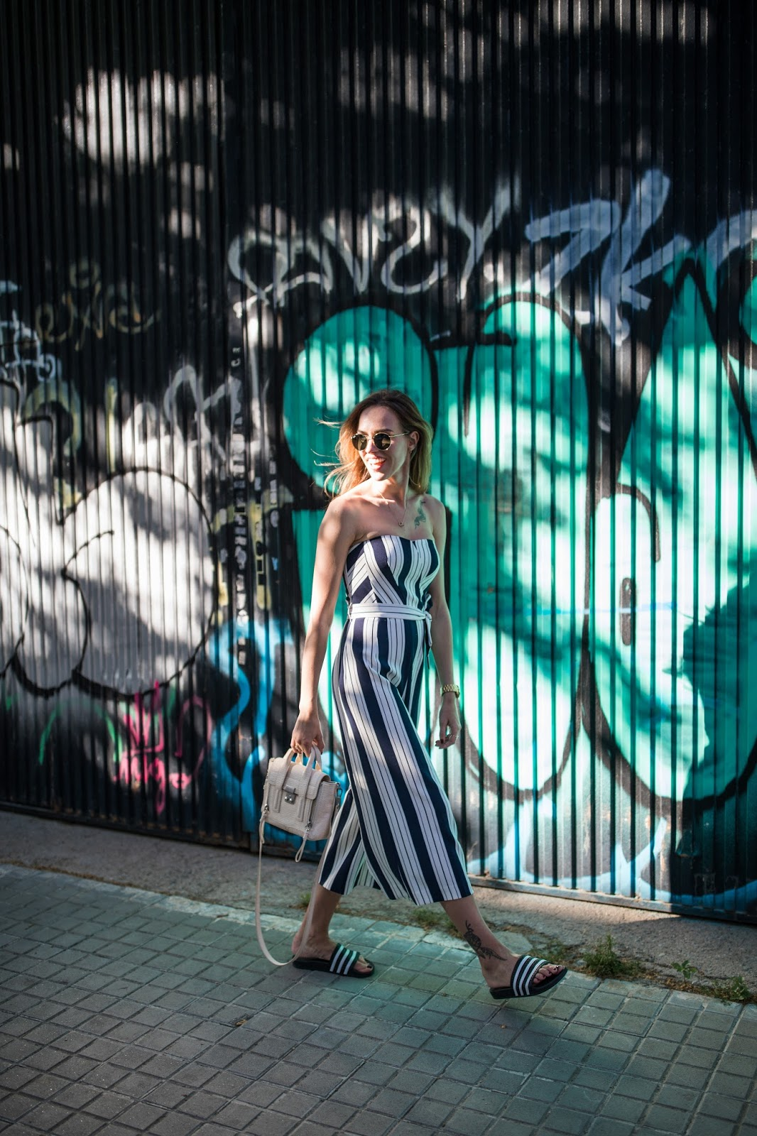 stripe jumpsuit outfit street style summer