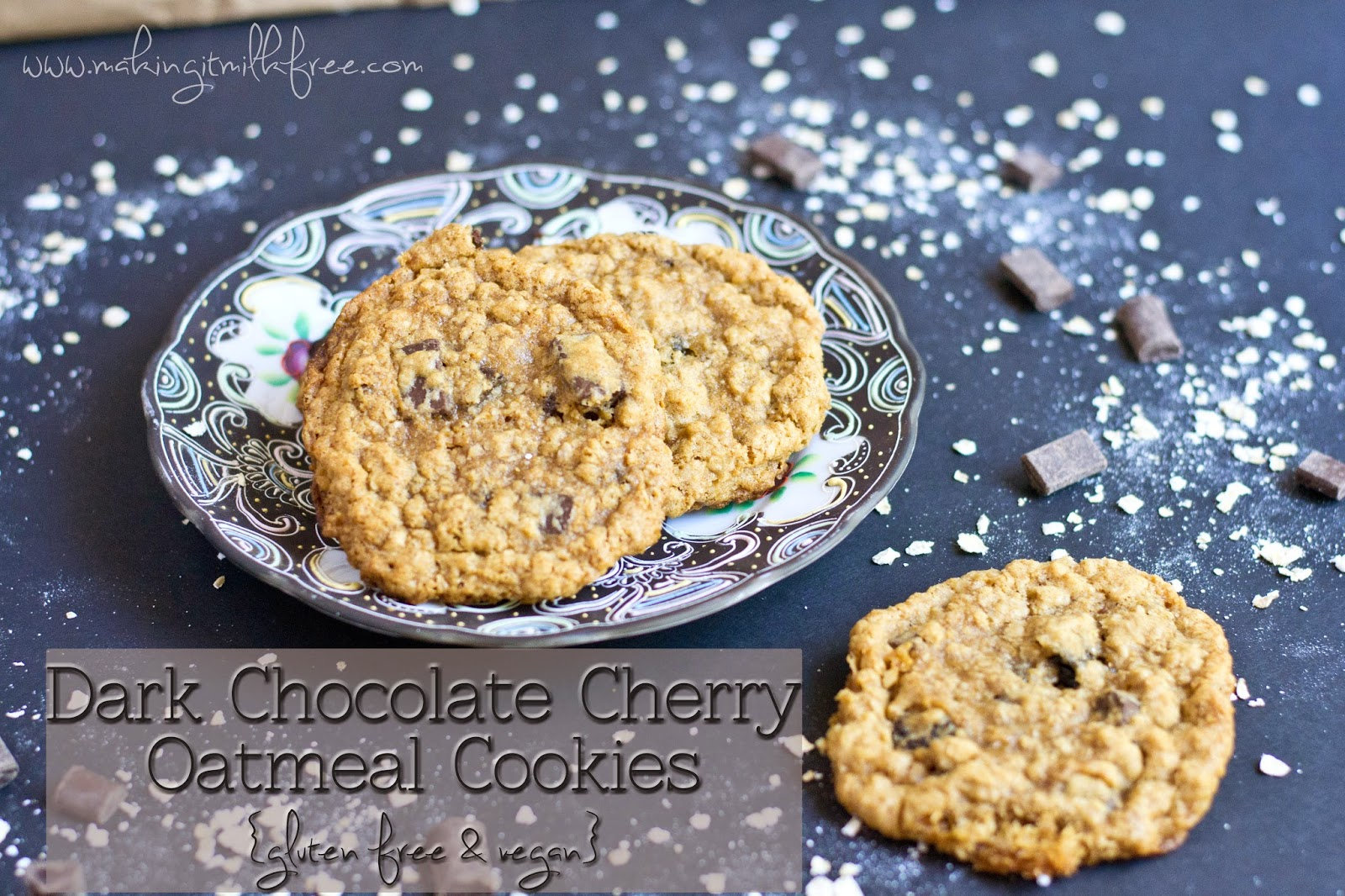 #glutenfree #vegan #darkchocolate #tartcherry #oatmeal #cookies