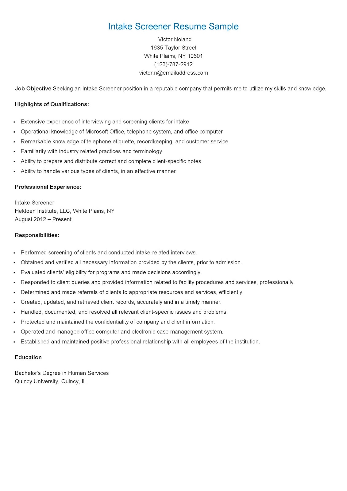 Aml Resume Format Resume Samples Intake Screener Resume Sample
