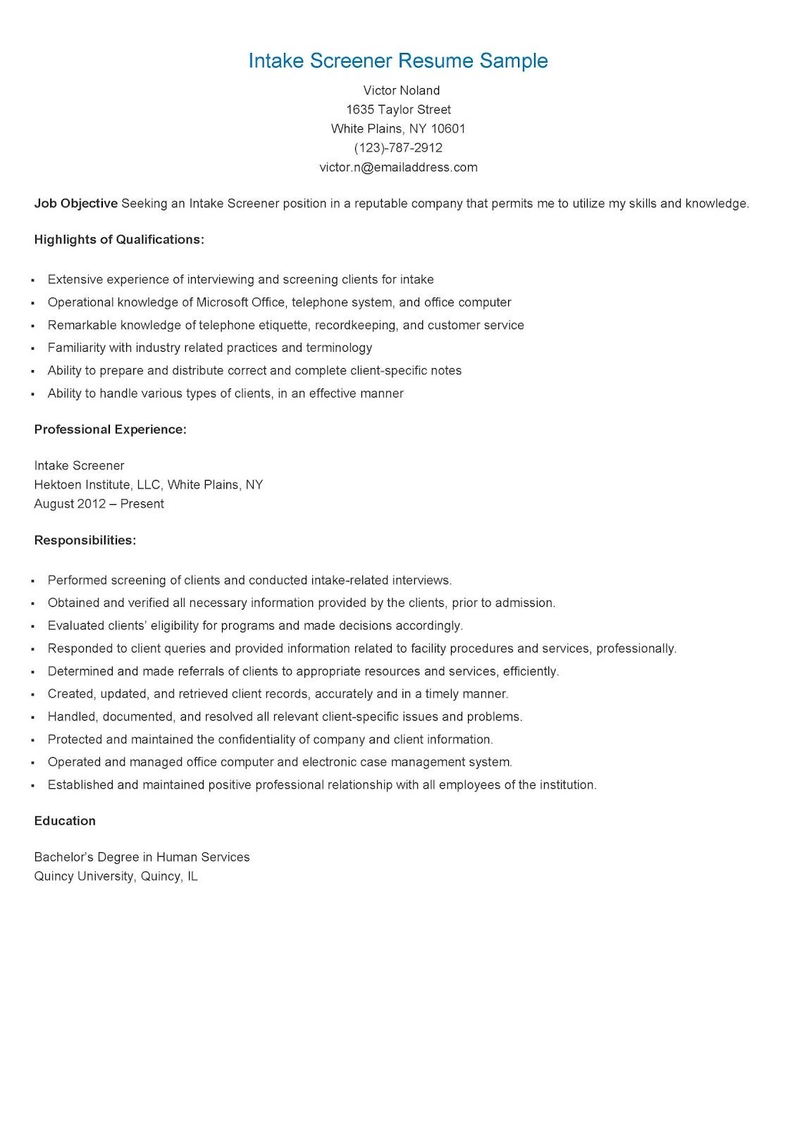 intake coordinatot resume sample