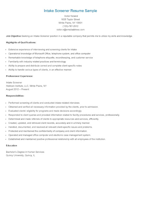 resume samples  intake screener resume sample