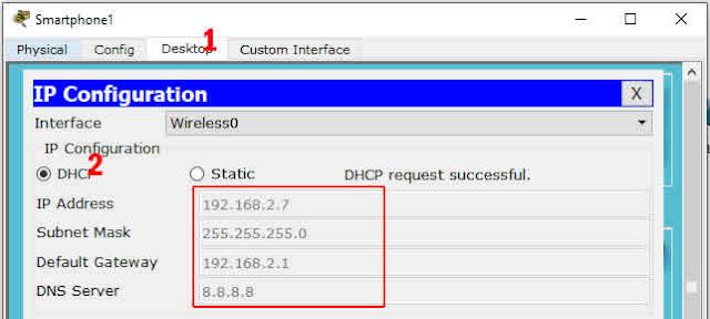 laptop mendapat IP DHCP dari Router