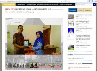 Penulis juara 4 Lomba Desain motif batik Kabupaten Bekasi 2015