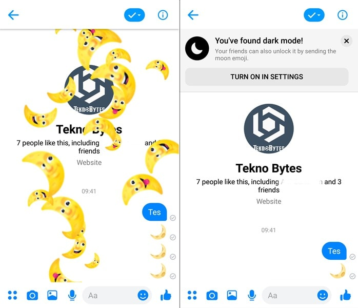 Emoji bulan di Facebook Messenger