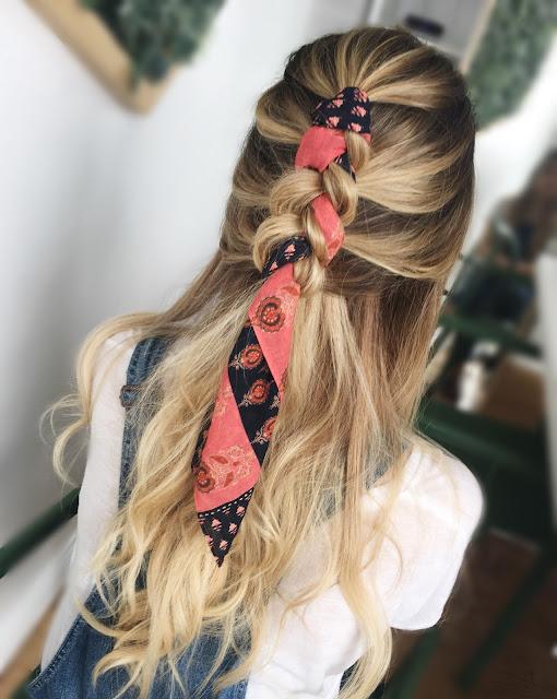 Peinados con pañuelos semirecogido con trenza