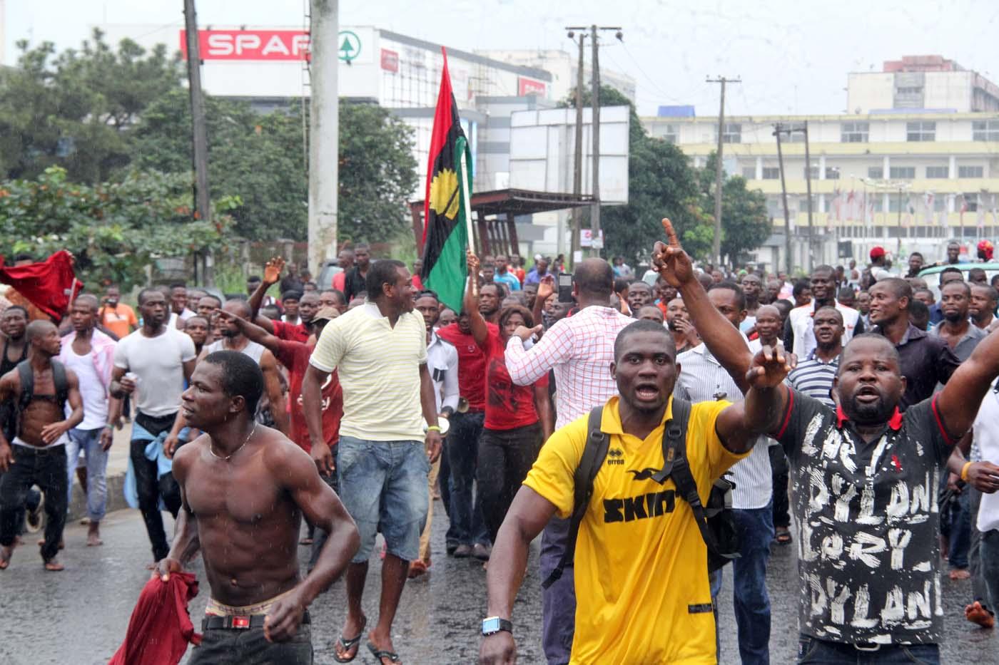 biafrans protest arrest kanu