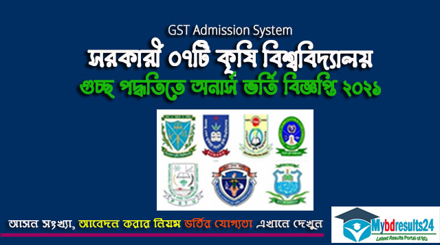 Agriculture Universities GST Admission Circular 2021