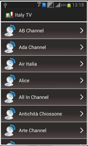 Internet, Web TV italiana per Android.
