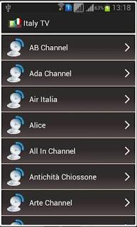 Web-TV Italiana per Android con canali; RAI, Mediaset, La 7 e Sport.