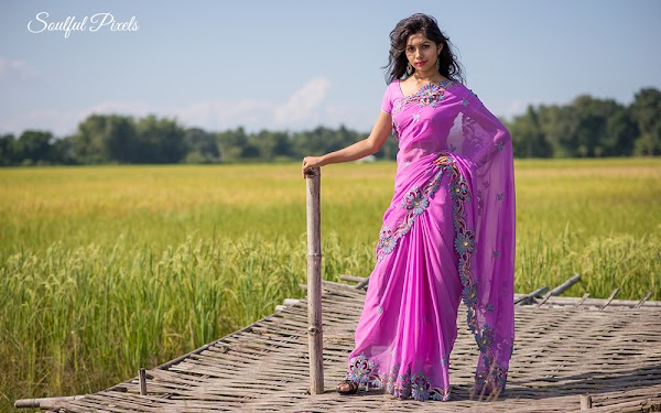 Assamese Model In A Rice Field