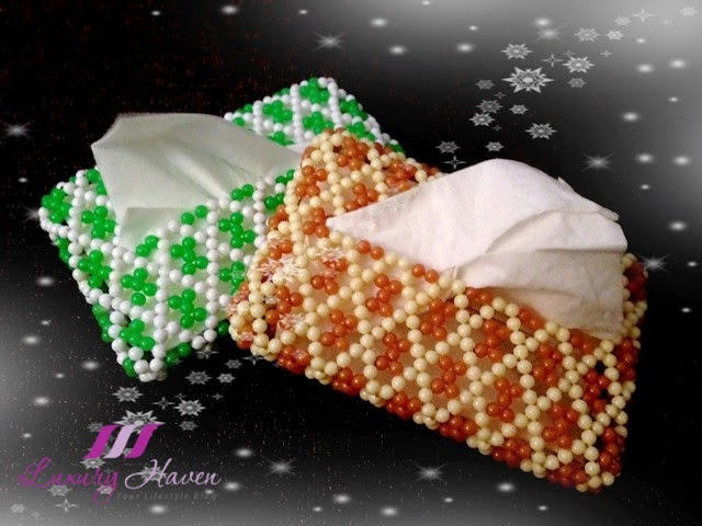 handmade beaded tissue holders