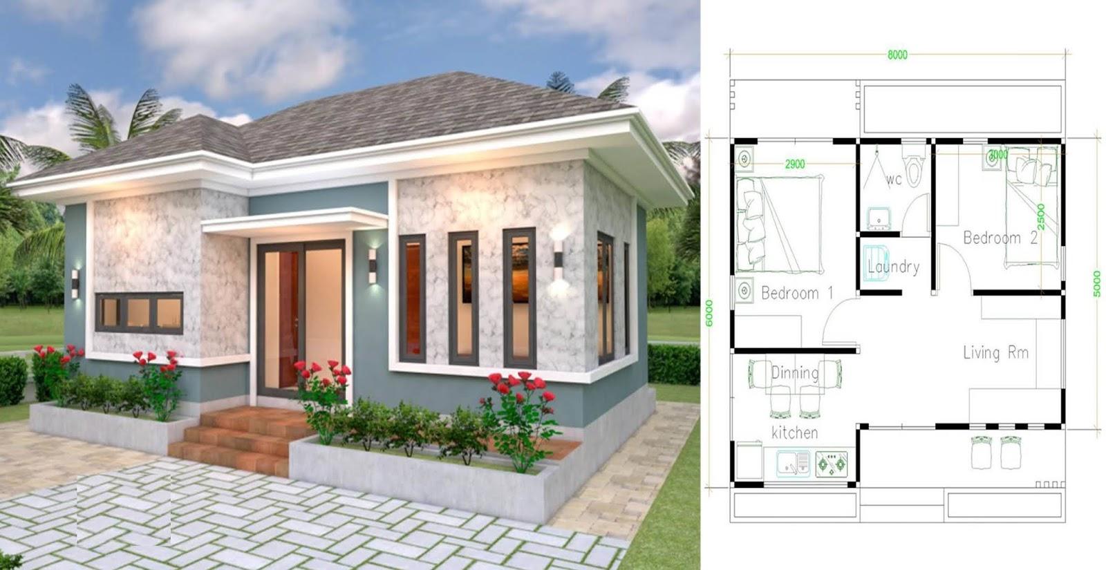 Plan De Petite Maison 8 6 Avec 2 Chambres