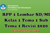 RPP 1 Lembar SD/MI Kelas 1 Tema 1 Sub Tema 1 Revisi 2020