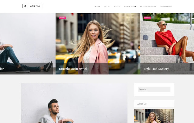 Andria Responsive Minimalist Simple Personal Blog Girly Update Fashions Blogger Template Theme