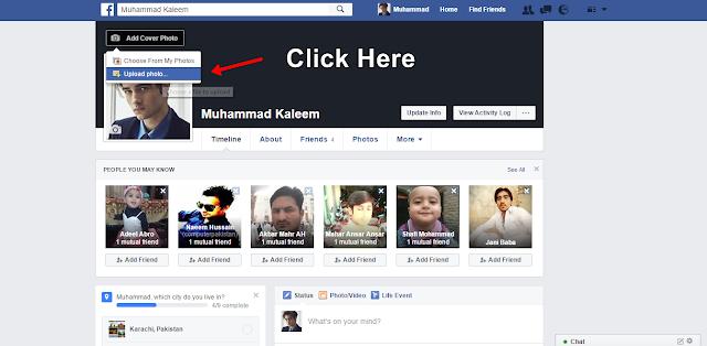 Facebook Cover Photo choose upload photo- Facebbok